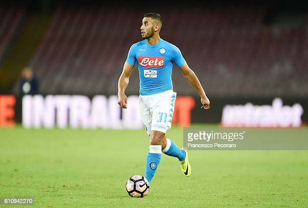 Faouzi Ghoulam of Napoli in action during the Serie A match between SSC Napoli and AC ChievoVerona at Stadio San Paolo on September 24 2016 in Naples...