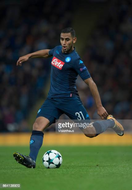 Faouzi Ghoulam of Napoli in action during the UEFA Champions League group F match between Manchester City and SSC Napoli at Etihad Stadium on October...