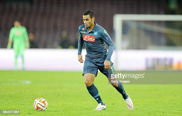NAPLES ITALY DECEMBER 11 Faouzi Ghoulam of Napoli in action during the UEFA Europa League football match between SSC Napoli and SK Slovan Bratislava...