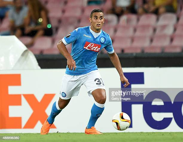 Faouzi Ghoulam of Napoli in action during the UEFA Europa League match between Napoli and Club Brugge KV on September 17 2015 in Naples Italy