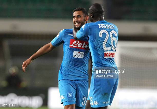 Faouzi Ghoulam of SSC Napoli celebrates his goal with his teammate Kalidou Koulibaly during the Serie A match between Hellas Verona and SSC Napoli at...