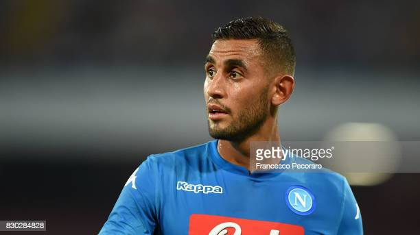 Faouzi Ghoulam of SSC Napoli in action during the preseason friendly match between SSC Napoli and Espanyol at Stadio San Paolo on August 10 2017 in...