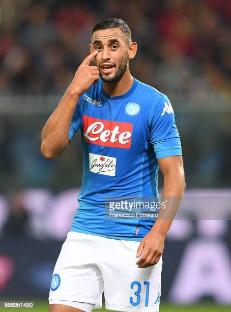 Faouzi Ghoulam of SSC Napoli in action during the Serie A match between Genoa CFC and SSC Napoli at Stadio Luigi Ferraris on October 25 2017 in Genoa...
