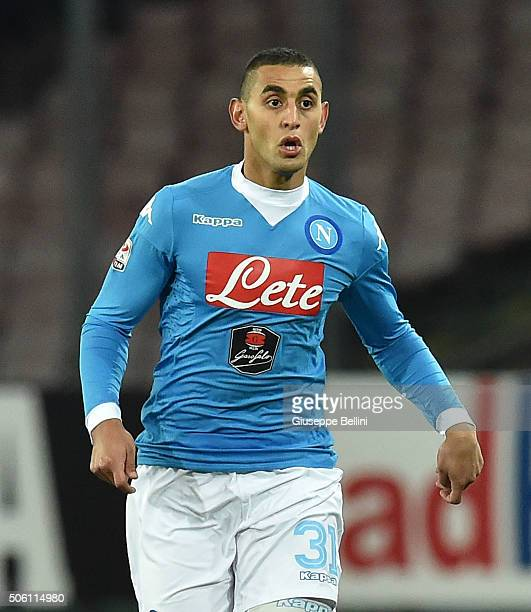 Faouzi Ghoulam of SSC Napoli in action during the Serie A match between SSC Napoli and US Sassuolo Calcio at Stadio San Paolo on January 16 2016 in...
