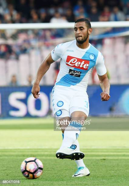 Faouzi Ghoulam of SSC Napoli in action during the Serie A match between SSC Napoli and Cagliari Calcio at Stadio San Paolo on May 6 2017 in Naples...