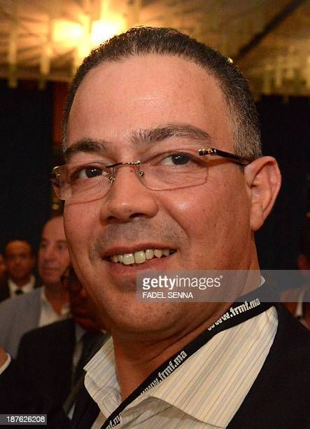 Faouzi Lakjaa president of the Moroccan football club of Berkane arrives to attend the general assembly meeting of the Moroccan Football Royal...