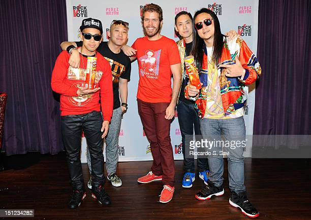 Far East Movement and Perez Hilton attend Pringles And Rock The Vote 'Turn Up The Vote' At The 2012 Democratic National Convention at Mez at the...