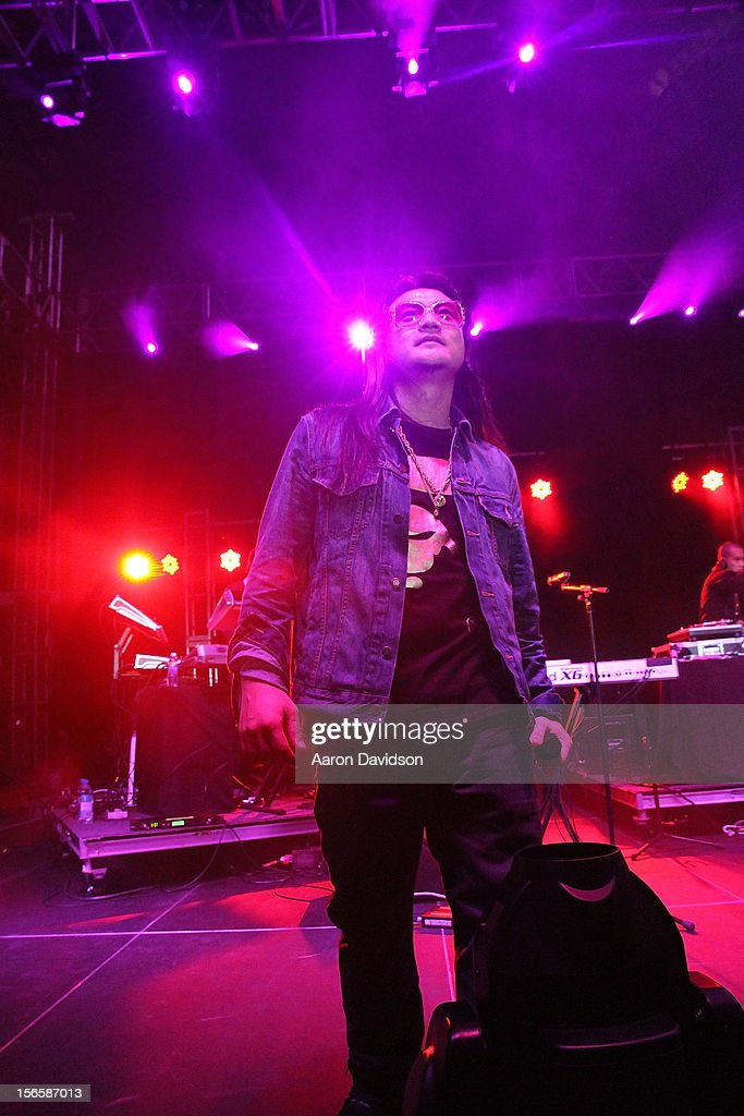 Far East Movement bandmember <a gi-track='captionPersonalityLinkClicked' href=/galleries/search?phrase=J-Splif&family=editorial&specificpeople=7240612 ng-click='$event.stopPropagation()'>J-Splif</a> attends Zenith Watches Best Buddies Miami Gala at Marlins Park on November 16, 2012 in Miami, Florida.