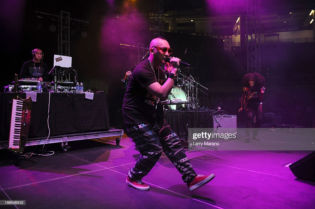 Far East Movement bandmember <a gi-track='captionPersonalityLinkClicked' href=/galleries/search?phrase=J-Splif&family=editorial&specificpeople=7240612 ng-click='$event.stopPropagation()'>J-Splif</a> performs onstage at the Best Buddies Bash Featuring Far East Movement and SkyBlu of LMFAO at Marlins Park on November 16, 2012 in Miami, Florida.