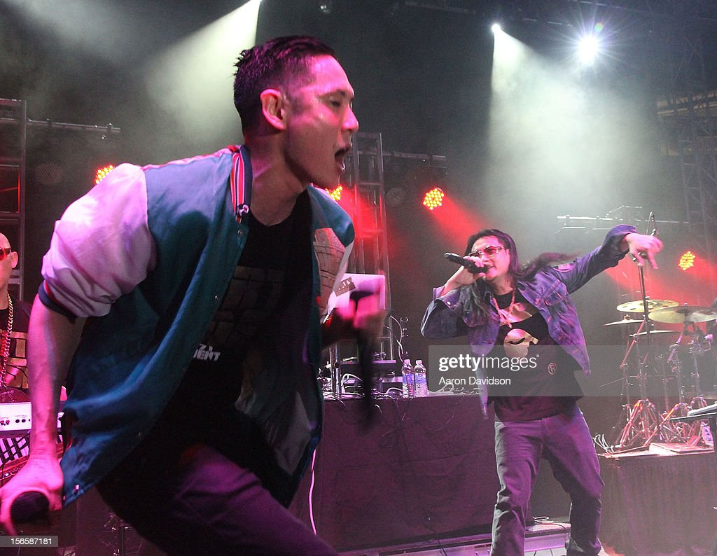 Far East Movement bandmember Kev Nish and J-Splif attends at Marlins Park on November 16, 2012 in Miami, Florida.