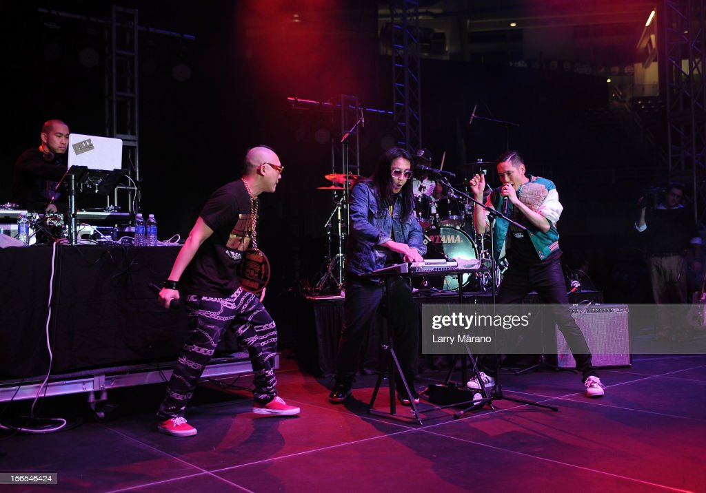 Far East Movement bandmembers <a gi-track='captionPersonalityLinkClicked' href=/galleries/search?phrase=DJ+Virman&family=editorial&specificpeople=7240615 ng-click='$event.stopPropagation()'>DJ Virman</a>, Prohgress, <a gi-track='captionPersonalityLinkClicked' href=/galleries/search?phrase=J-Splif&family=editorial&specificpeople=7240612 ng-click='$event.stopPropagation()'>J-Splif</a> and <a gi-track='captionPersonalityLinkClicked' href=/galleries/search?phrase=Kev+Nish&family=editorial&specificpeople=7240613 ng-click='$event.stopPropagation()'>Kev Nish</a> perform onstage at the Best Buddies Bash Featuring Far East Movement and SkyBlu of LMFAO at Marlins Park on November 16, 2012 in Miami, Florida.