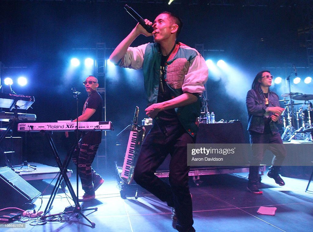 Far East Movement bandmembers Prohgress, <a gi-track='captionPersonalityLinkClicked' href=/galleries/search?phrase=J-Splif&family=editorial&specificpeople=7240612 ng-click='$event.stopPropagation()'>J-Splif</a> and <a gi-track='captionPersonalityLinkClicked' href=/galleries/search?phrase=Kev+Nish&family=editorial&specificpeople=7240613 ng-click='$event.stopPropagation()'>Kev Nish</a> attends at Marlins Park on November 16, 2012 in Miami, Florida.