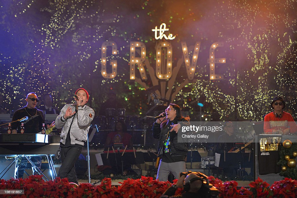 <a gi-track='captionPersonalityLinkClicked' href=/galleries/search?phrase=Far+East+Movement&family=editorial&specificpeople=4292594 ng-click='$event.stopPropagation()'>Far East Movement</a> perform at The Grove's 10th Annual Star Studded Holiday Tree Lighting Spectacular Presented By Citi at The Grove on November 11, 2012 in Los Angeles, California.
