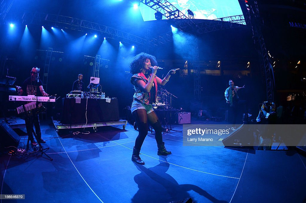 Far East Movement performs onstage at the Best Buddies Bash Featuring Far East Movement and SkyBlu of LMFAO at Marlins Park on November 16, 2012 in Miami, Florida.