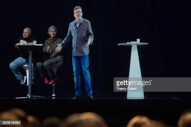 Far Left leader of 'La France Insoumise' JeanLuc Melenchon is streamed live via hologram to a rally on February 5 2017 in Paris France Melenchon is a...
