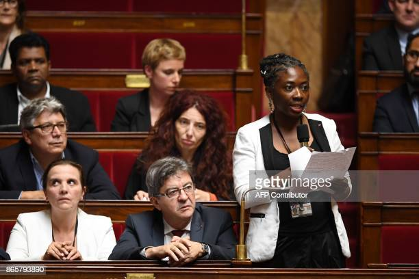 Far left party la France Insoumise deputy Daniele Obono addresses the government at the National Assembly as FI leader JeanLuc Melenchon listens...