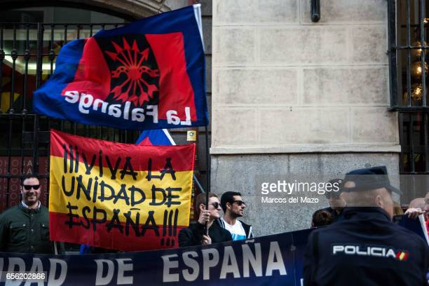 Far right wingers protesting a against former Catalan president Artur Mas who held a debate with former Spanish Minister of Foreign Affairs and...