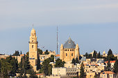 Far view to Dormitsion abbey and church in Jerusalem on Mount Zion