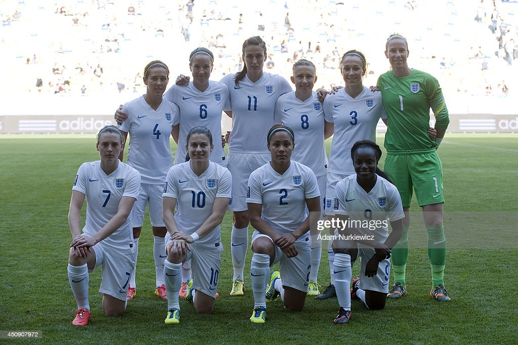 Fara Williams and Casey Stoney and Jill Scott and Laura Bassett and Lucia Bronze and goalkeeper Karen Bardsley Jade Moore and Karen Carney and Alex...