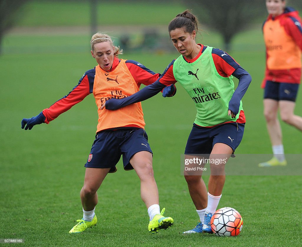 Fara Williams and Jordan Nobbs of Arsenal Ladies during the Arsenal Ladies training session at London Colney on January 29, 2016 in St Albans, England.