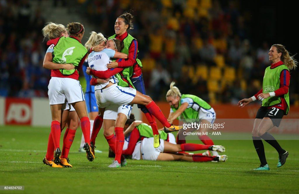Fara Williams jumps up as the team celebrate the win after the UEFA Women's Euro 2017 match between England and France at Stadion De Adelaarshorst on July 30, 2017 in Deventer, Netherlands.