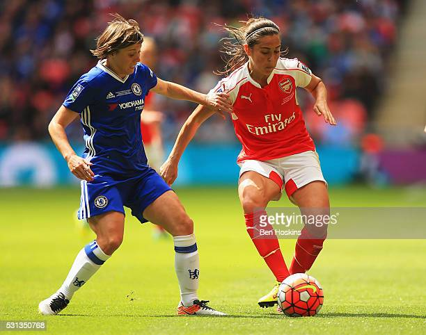 Fara Williams of Arsenal holds off Fran Kirby of Chelsea during the SSE Women's FA Cup Final between Arsenal Ladies and Chelsea Ladies at Wembley...