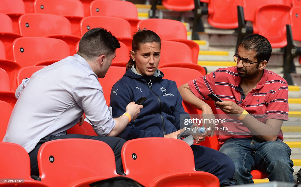 Fara Williams of Arsenal Ladies is interviewed during the SSE Women's FA Cup Final - Wembley Media Day at Wembley Stadium on May 6, 2016 in London, England.