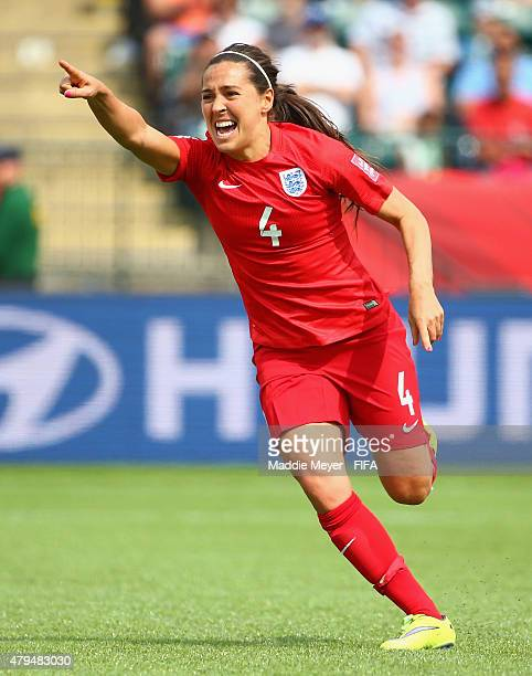 Fara Williams of England celebrates after scoring a penalty kick goal during the FIFA Women's World Cup 2015 third place playoff match between...
