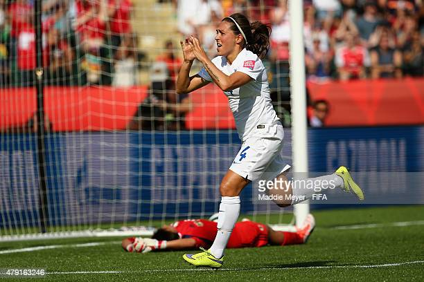Fara Williams of England celebrates after scoring a penalty kick during the FIFA Women's World Cup Canada 2015 semi final match between England and...