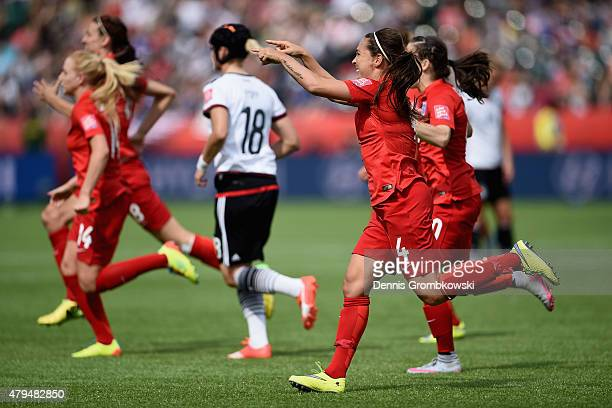 Fara Williams of England celebrates as she scores the opening goal from a penalty during the FIFA Women's World Cup Canada 2015 Third Place Playoff...