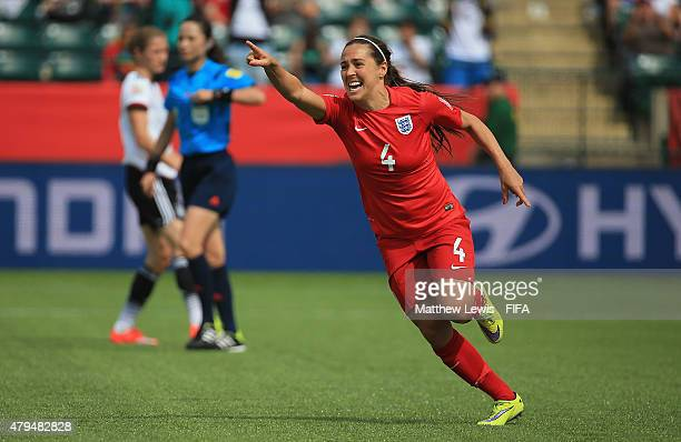 Fara Williams of England celebrates her goal from the penalty spot during the FIFA Women's World Cup 2015 Third Place Playoff match between Germany...