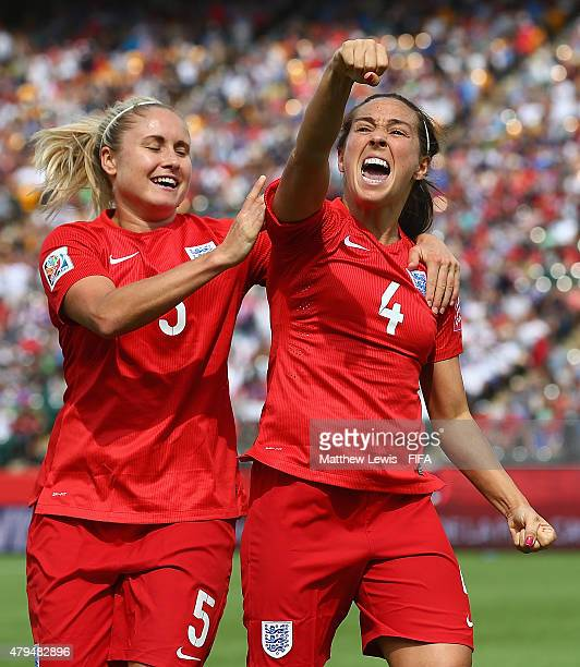 Fara Williams of England celebrates her goal from the penalty spot with Steph Houghton during the FIFA Women's World Cup 2015 Third Place Playoff...