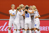 Fara Williams of England celebrates her goal on a penalty shot during the 2015 FIFA Women's World Cup Group F match against Colombia at Olympic...