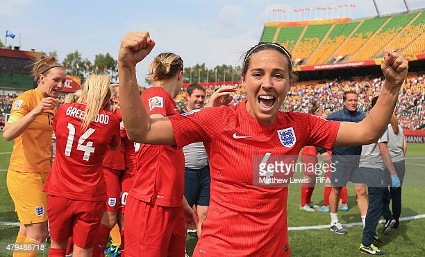 Fara Williams of England celebrates her teams third place after defeating Germany during the FIFA Women's World Cup 2015 Third Place Playoff match...