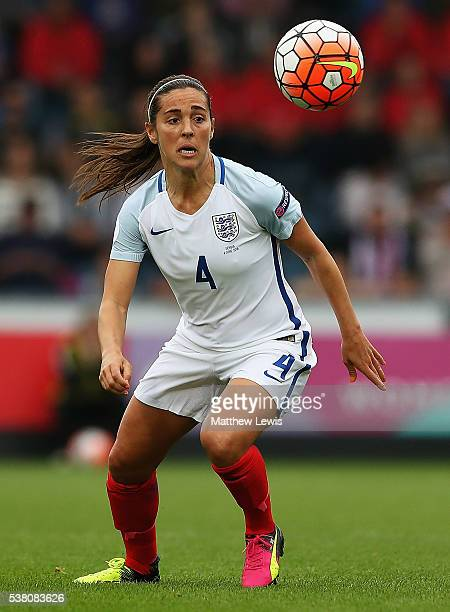 Fara Williams of England in action during a UEFA Women's European Championship Qualifier match between England and Serbia at Adams Park on June 4...