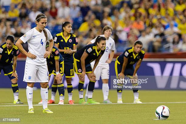 Fara Williams of England is awarded a penalty shot in the first half during the 2015 FIFA Women's World Cup Group F match against Colombia at Olympic...