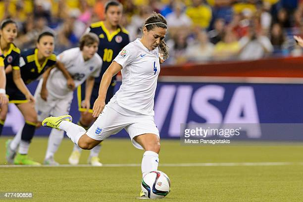 Fara Williams of England kicks the ball on a penalty shot and scores during the 2015 FIFA Women's World Cup Group F match against Colombia at Olympic...