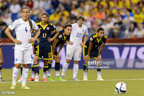 Fara Williams of England prepares to take a penalty kick during the 2015 FIFA Women's World Cup Group F match against Colombia at Olympic Stadium on...