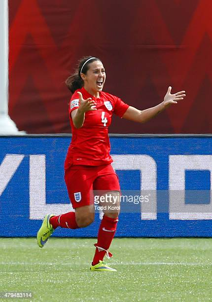 Fara Williams of England reacts to scoring her goal during the FIFA Women's World Cup Canada 3rd Place Playoff match between England and Germany at...