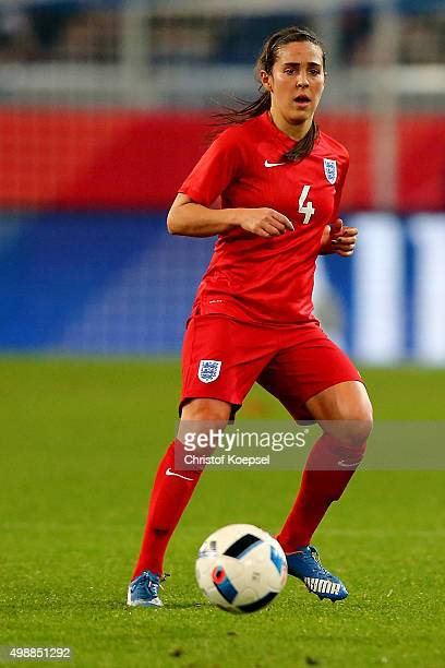Fara Williams of England runs with the ball during the Women's International Friendly match between Germany and England at SchauinslandReisenArena on...