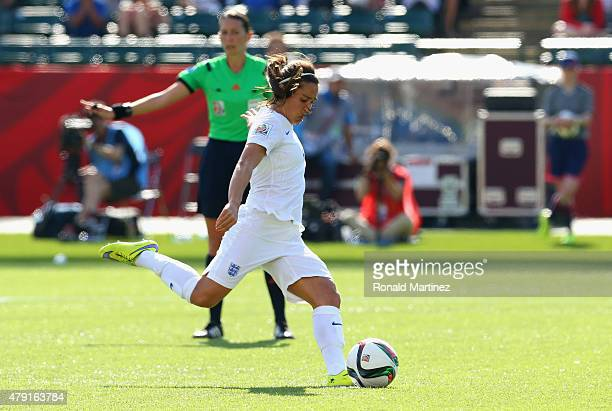 Fara Williams of England scores a penalty to make it 11 during the FIFA Women's World Cup Semi Final match between Japan and England at the...