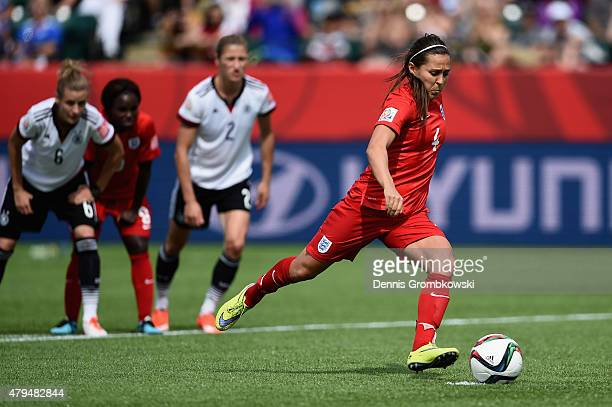 Fara Williams of England scores the opening goal from a penalty during the FIFA Women's World Cup Canada 2015 Third Place Playoff match between...