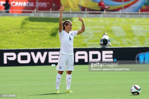 Fara Williams of England signals her teammates prior to a free kick against Norway during the FIFA Women's World Cup Canada 2015 round of 16 match...