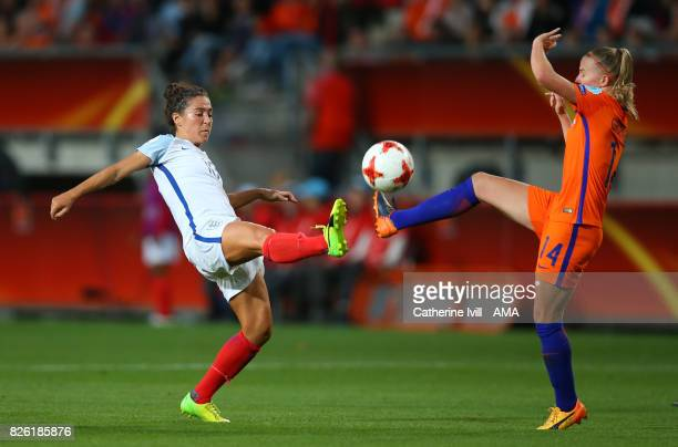 Fara Williams of England Women and Jackie Groenen of Netherlands Womenduring the UEFA Women's Euro 2017 semi final match between Netherlands and...