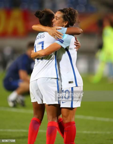 Fara Williams of England Women hugs Nikita Parris of England Women during the UEFA Women's Euro 2017 match between Portugal and England at Koning...