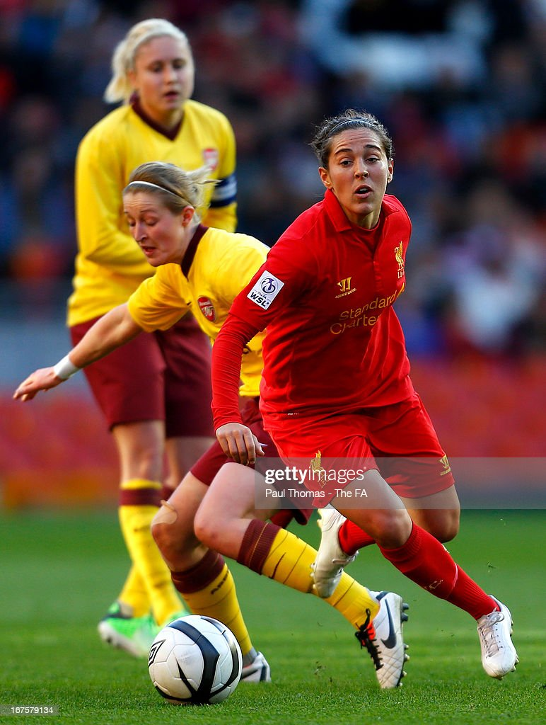 <a gi-track='captionPersonalityLinkClicked' href=/galleries/search?phrase=Fara+Williams&family=editorial&specificpeople=2309371 ng-click='$event.stopPropagation()'>Fara Williams</a> (R) of Liverpool in action with <a gi-track='captionPersonalityLinkClicked' href=/galleries/search?phrase=Ellen+White&family=editorial&specificpeople=4436830 ng-click='$event.stopPropagation()'>Ellen White</a> of Arsenal during the Womens FA Cup Semi Final match between Liverpool Ladies FC and Arsenal Ladies FC at Anfield on April 26, 2013 in Liverpool, England.