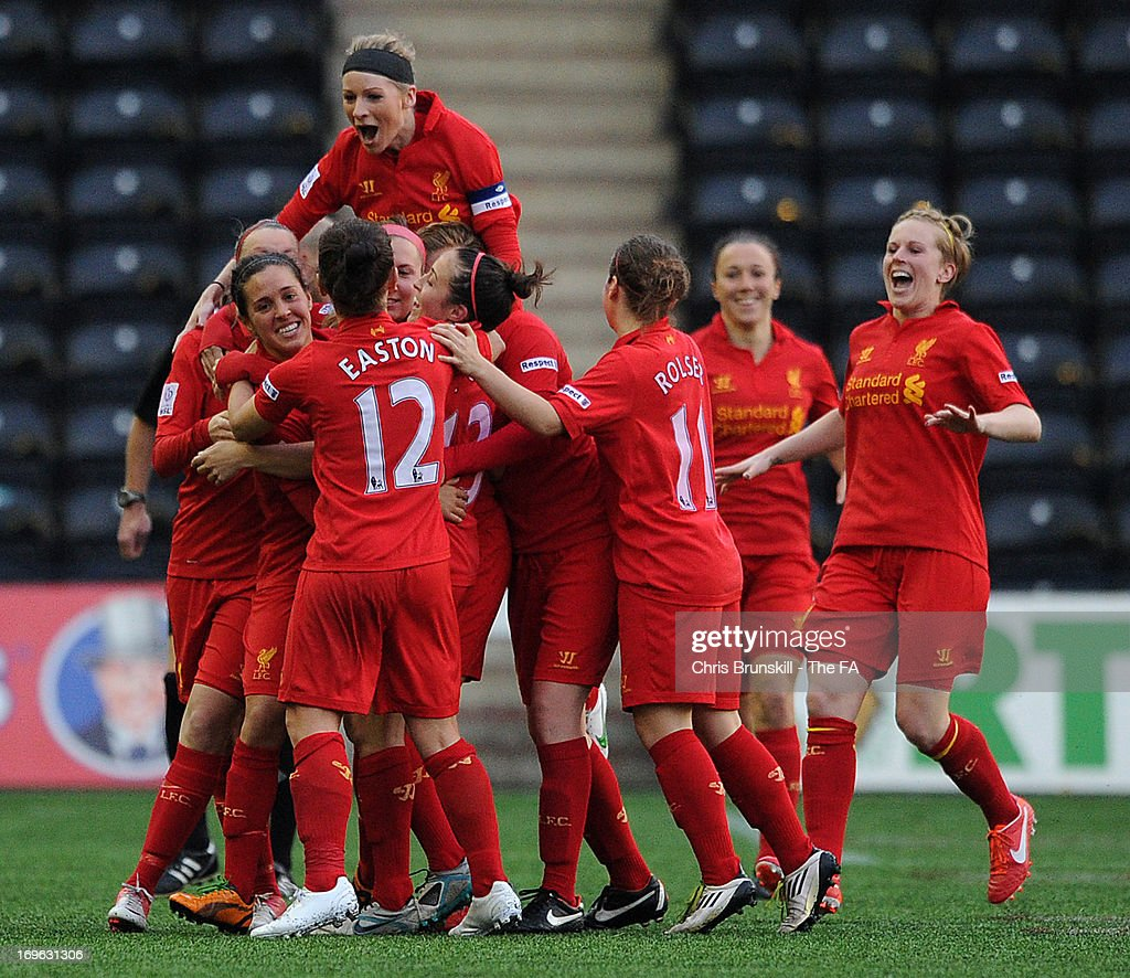 Fara Williams of Liverpool Ladies FC is congratulated by her teammates after scoring her side's second goal during the FA WSL match between Liverpool...