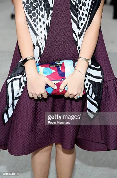 Farah Alimi @farahjaka is seen wearing Skingraft scarf Alexander Wang HM dress Desigual Clutch outside NYFW The Shows HQ during Spring 2016 New York...