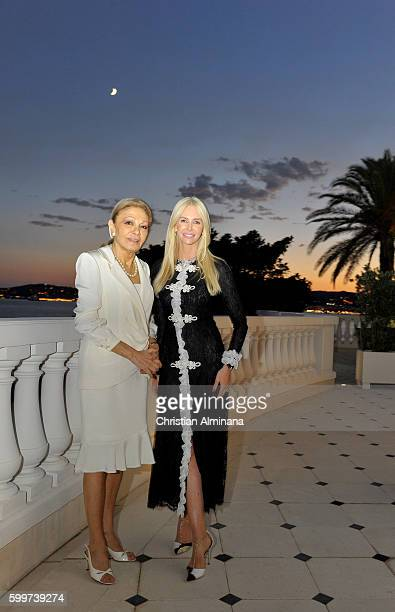 Farah Diba Pahlavi and Amanda Cronin attend the dinner with Queen Farah Diba Pahlavi at hotel Cap Estel on September 6 2016 in Monaco Monaco