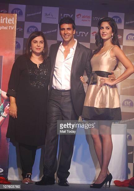 Farah Khan Akshay Kumar and Katrina Kaif at a promotional event for the film Tees Maar Khan in Mumbai on December 13 2010